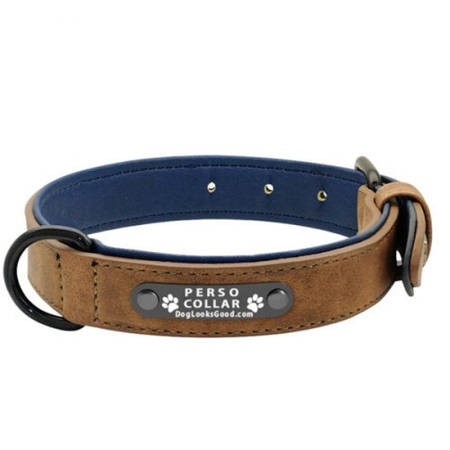 personalized dog collar luna brown leather