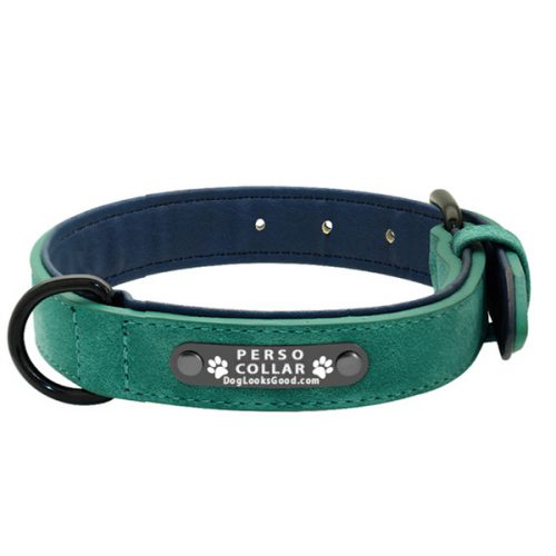 personalized dog collar luna green leather