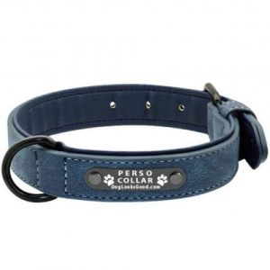 personalized dog collar luna blue leather