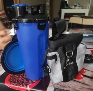 The bottle is very good! All as in the description.2 compartment, on the lid is a silicone gasket, so that the water does not flow into another compartment, The bottle itself is plastic, the cups are silicone.