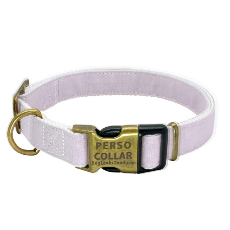 personalized dog collar cooper gold beige