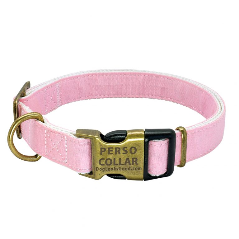personalized dog collar cooper gold pink