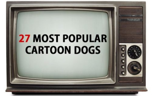 old school tv screen with title 27 most popular cartoon dogs