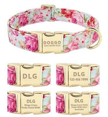 golden flower dog collar personalised engraved id tag message