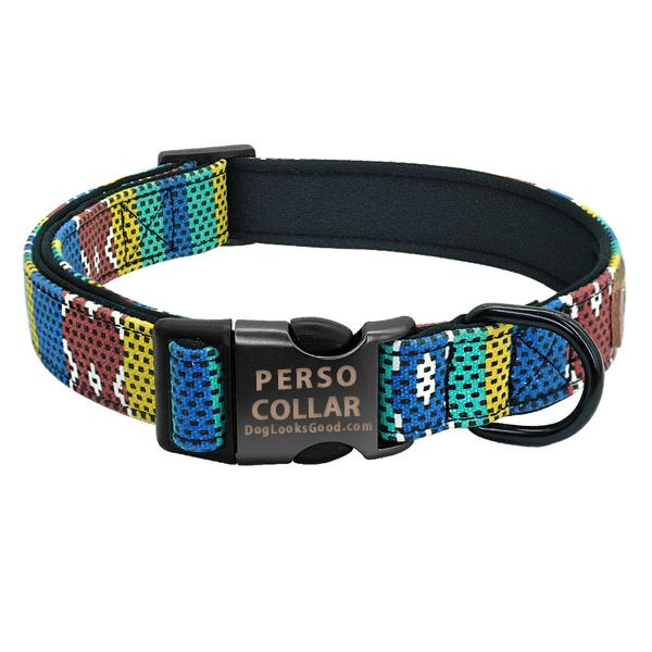 hawaii dog collar with engraving coffee color