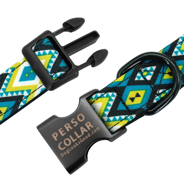 hawaii dog collar with engraving feature close up