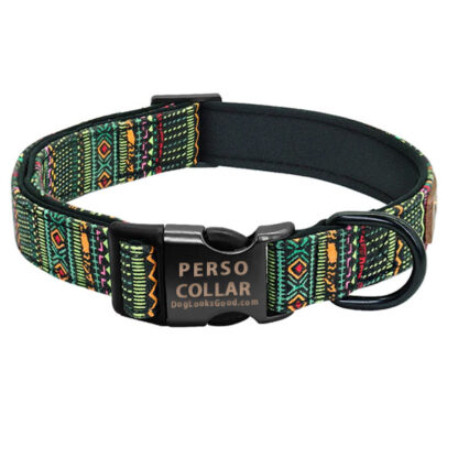 hawaii dog collar with engraving green color