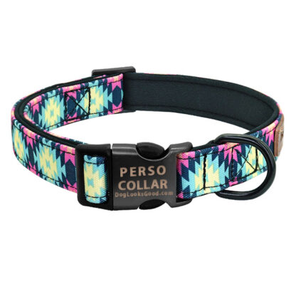 hawaii dog collar with engraving pink color