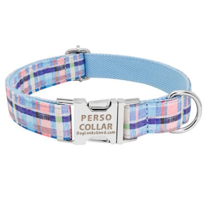 personalized collar light chequer blue