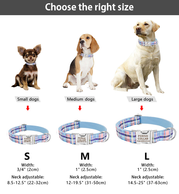 personalized collar size table