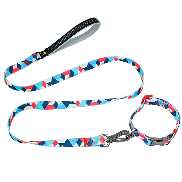perso collar with engraving modern blue leash