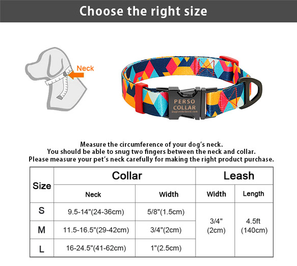perso collar modern size chart