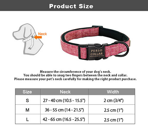 personalized collar table of sizes
