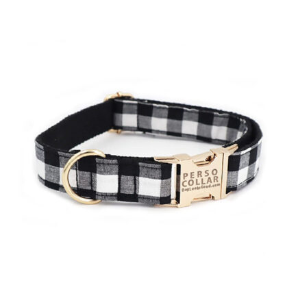 black gingham engraved with name dog collar