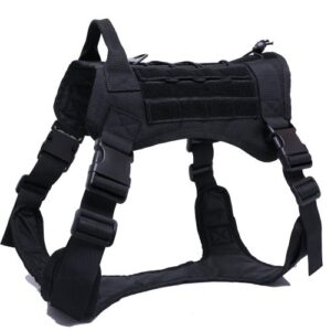 black military style tactical dog harness