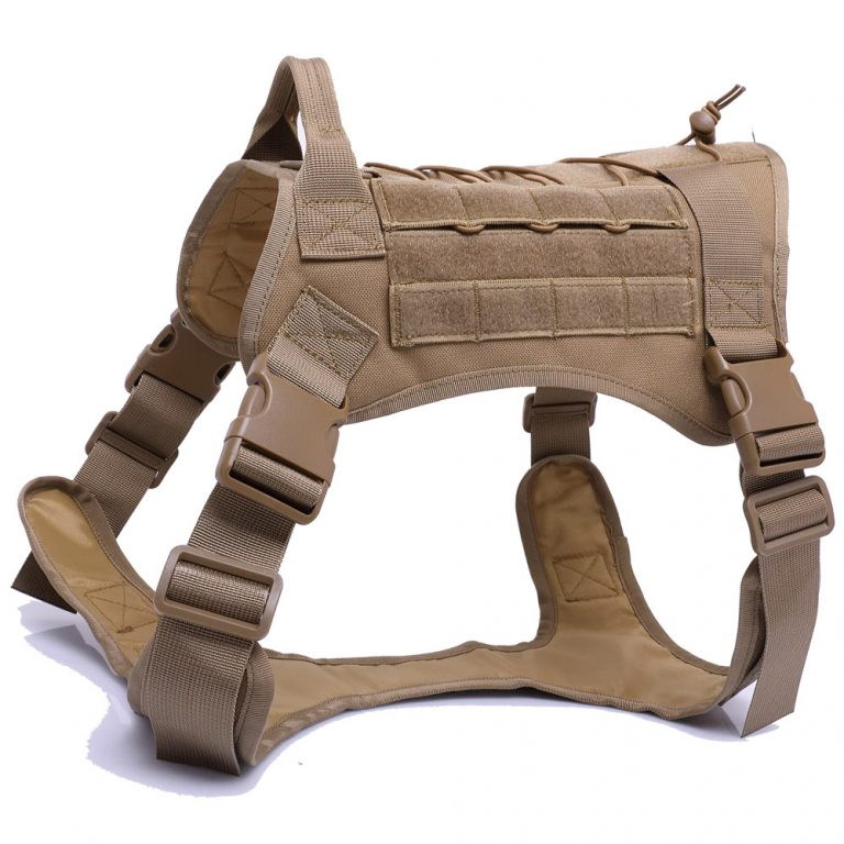 brown tactical dog harness
