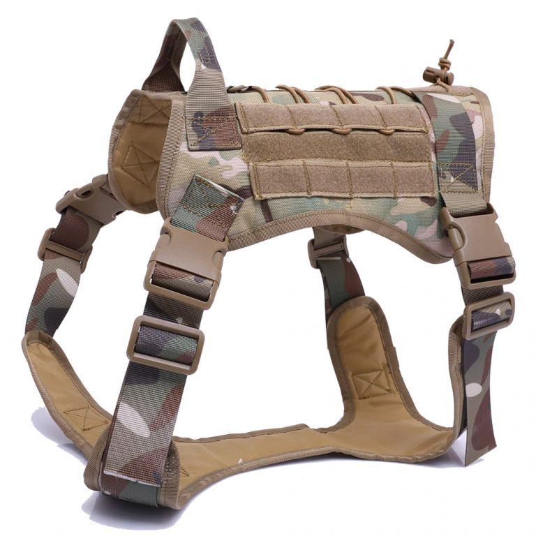 green camouflage army style dog harness